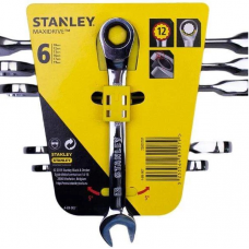 Set of 6 Ratcheting Combination Spanners Stanley